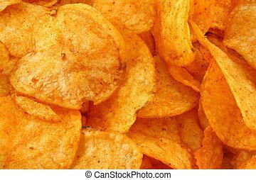 tasty potato crisps  background