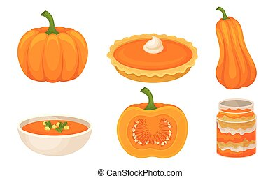 Tasty Pumpkin Dishes Collection, Jam Jar, Pie, Soup, Traditional Thanksgiving Food Vector Illustration