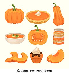 Tasty pumpkin dishes set, fresh ripe pumpkin and traditional Thanksgiving food vector Illustration on a white background