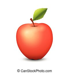 Tasty Red Apple isolated on white background - Vector Illustration.