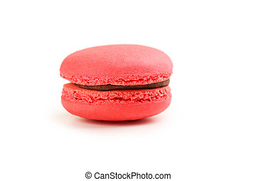 Tasty red macaron isolated on white