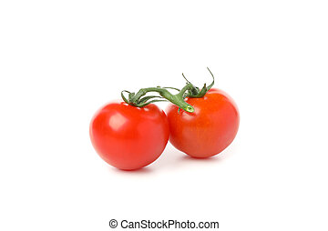 Tasty red tomatoes isolated on white background