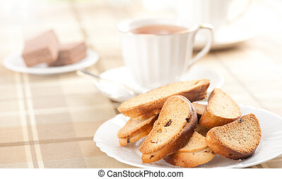 tasty rusks on a plate