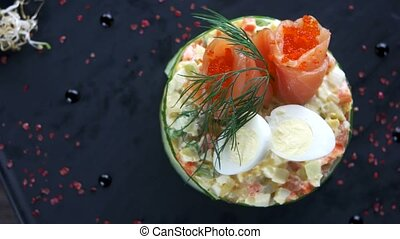 Tasty russian salad. Food top view.