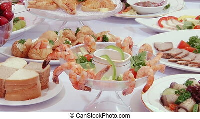 Tasty salad of shrimp with sauce on Swedish table.