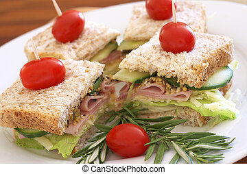 Tasty sandwiches on wholewheat bread