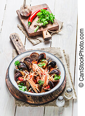 Tasty seafood soup with mussels and shrimps