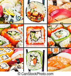 Tasty Seafood. Sushi Roll on a white background