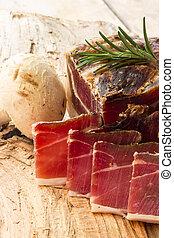 Tasty slices of Italian speck