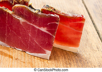 Tasty slices of Italian speck