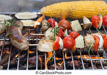 Fresh tasty grilled meat and vegetable snacks