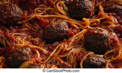 Tasty Spaghetti Meal - Spaghetti And meatballs dish turning...