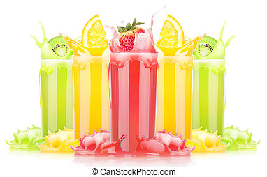 tasty summer fruit drinks in glass with splash isolated on a...