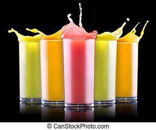 tasty summer fruit drinks in glass with splash - tasty...