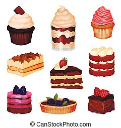 Tasty Sweet Cakes and Cupcakes Collection, Delicious Desserts with Fresh Berries Vector Illustration