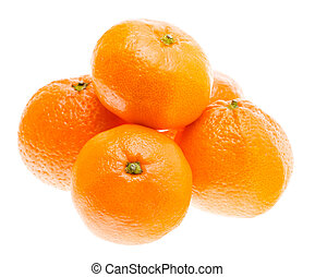 Tasty Sweet Tangerine Orange Mandarin Fruit Isolated On...