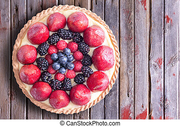 Tasty Tart with Fresh Berries on a Table