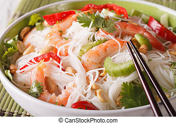Thai salad yam woon sen with seafood macro in a bowl. horizontal