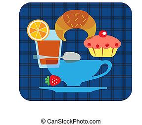 tasty tipical american breakfast set - 1