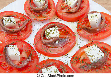Tasty tomato slices with cheese