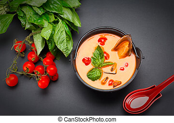 Tasty tomato soup with mussel