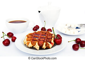 Tasty waffles with jam