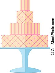 Tasty wedding cakes with floral decoration isolated on a white background.