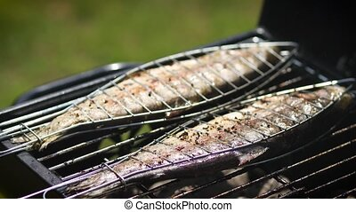 Tasty whole fishes placed on barbecue grill. Trout with...