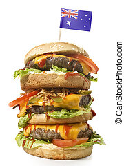 Tasty XXL Hamburger with the flag of Australia.(series)