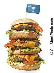 Tasty XXL Hamburger with the flag of South Carolina.(series)