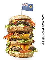 Tasty XXL Hamburger with the flag of Western Australia.(series)