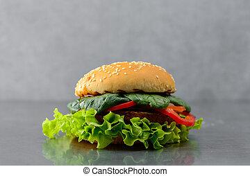 Tasty yummy veggie quinoa chickpeas burger with vegetable pattie