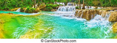 Tat Sae Waterfalls. Beautiful landscape, Laos. Panorama -...