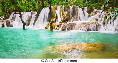 Tat Sae Waterfalls. Beautiful landscape. Luang Prabang. Laos. Panorama
