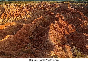 tatacoa, deserto, dondolare formazioni