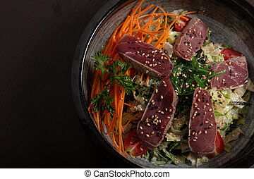 tataki., bol, salade thon, asiatique, vue, cuisine., au-dessus