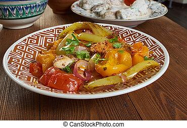 Tatar Kazan-Kyzgan, meat stew with spices, onions, potatoes...