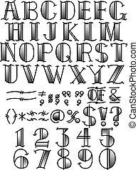 tatoeëren, b, &, alfabet, symbolen, w