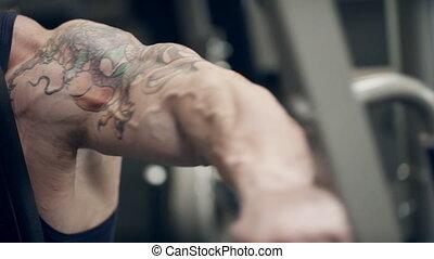 tatoeëren, biceps, schudden, simulator., bodybuilder, zijn, arm