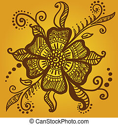 tatoeëren, bloem, abstract, henna, indiër, mehndi