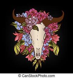 tatoeëren, concept, schedel, t-shirt, stier, afdrukken, verfraaide, bloemen, of