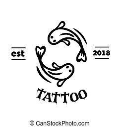 tatoeëren, concept, visje, yin, twee, vector, achtergrond, beeld, yang
