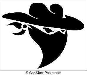 tatoeëren, cowboy, ontwerp, dief, mascotte
