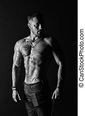 tatoeëren, gebaard, mode, jeans., atleet, of, model, chest., sportsman, bodycare, sportende, torso., black , fitness, belly., sexy, witte , sterke, tattooed, arm, man