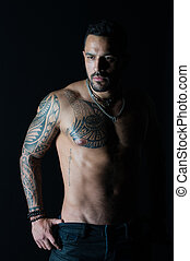 tatoeëren, gebaard, torso., jeans., atleet, of, chest., sportsman, bodycare, mode, sterke, fitness, belly., sexy, model, sportende, tattooed, arm, man