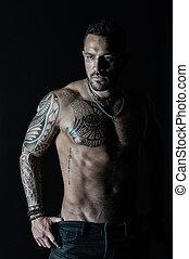 tatoeëren, gebaard, torso., jeans., ouderwetse , atleet, of, chest., sportsman, bodycare, filter, mode, sterke, fitness, belly., sexy, model, sportende, tattooed, arm, man