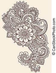 tatoeëren, henna, ontwerp, mehndi, doodle