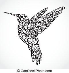 tatoeëren, hummingbird., art.
