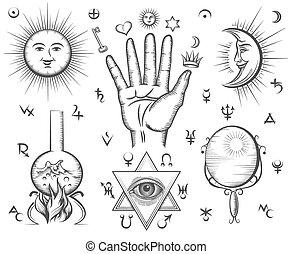 tatoeëren, magisch, occultism, symbolen, vector, spiritualiteit, chemie, alchimie
