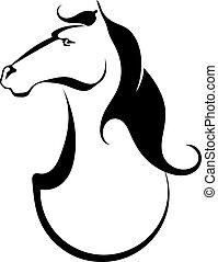 tatoeëren, paarde, silhouette, black